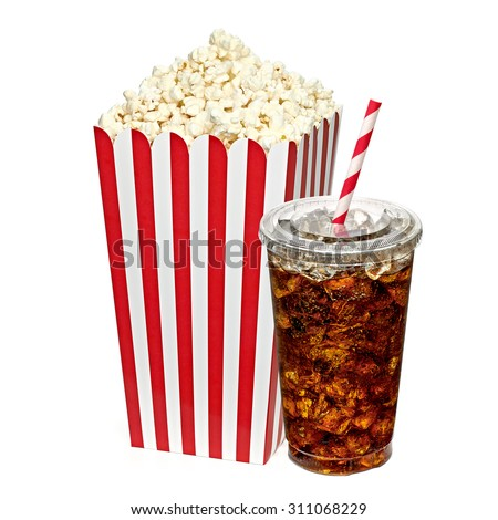 Popcorn in box with cola in takeaway cup on white background including clipping path - stock photo