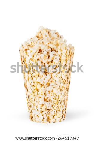 Popcorn in cardboard box on white background - stock photo