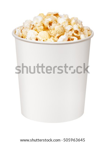 popcorn in cardboard bucket on white background