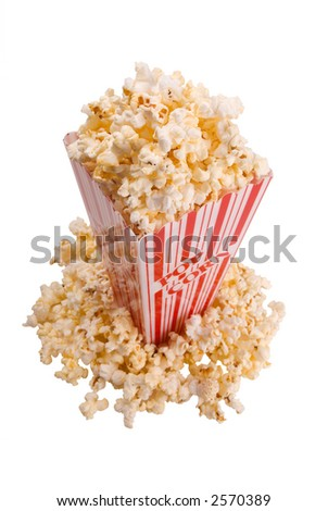 popcorn in container from above over white - stock photo