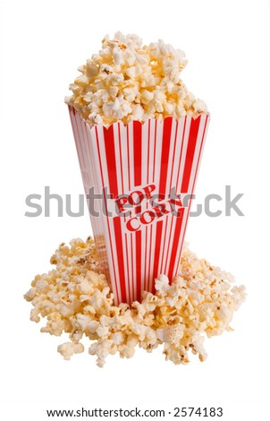 popcorn in container shot from the side with clipping path over white - stock photo