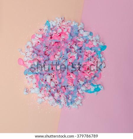 Popcorn in Paint and Glitter. Vanilla pastel colors. Minimalism fashion Art - stock photo
