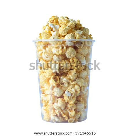 Popcorn in plastic container isolated with clipping path - stock photo