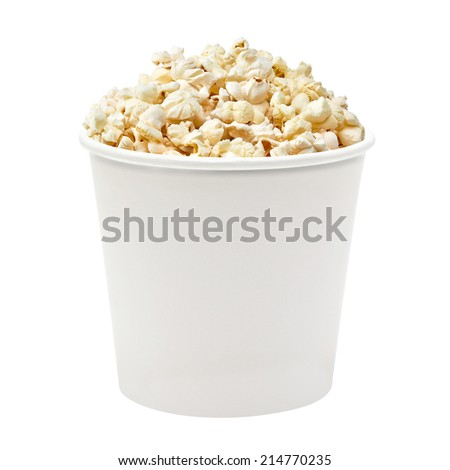 Popcorn in white bucket on white background