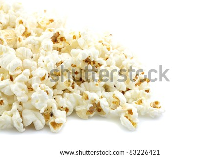 Popcorn isolated in white background