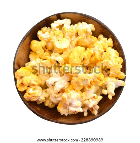 Popcorn isolated in wooden bowl on the white background  - stock photo