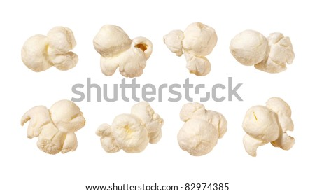 Popcorn isolated on a white background. Each shot separately. - stock photo