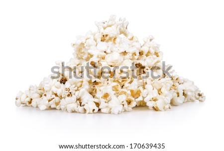 Popcorn isolated on the white background - stock photo