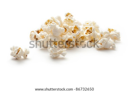 Popcorn isolated on the white background - stock photo