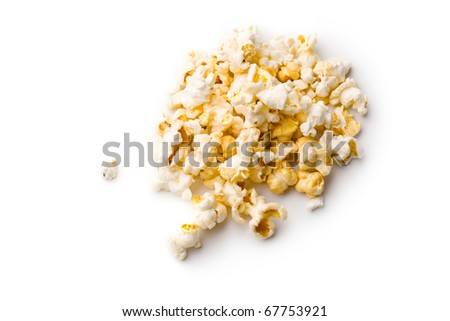 Popcorn isolated on white - stock photo