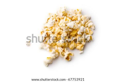 Popcorn isolated on white - stock photo
