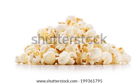 Popcorn isolated on white background - stock photo