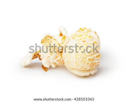 Popcorn isolated on white background. Clipping path included. Focus on front - stock photo