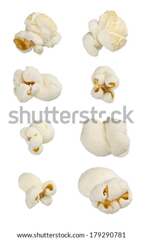 Popcorn isolated on white. Extra large macro set. - stock photo