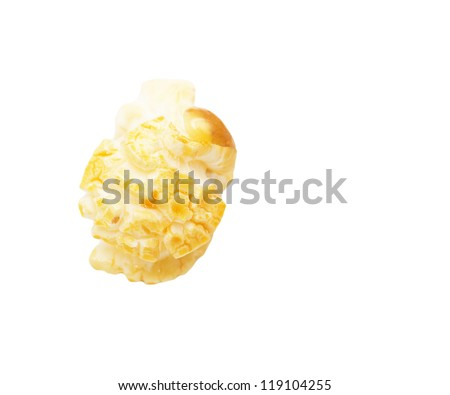popcorn on a white background. macro - stock photo