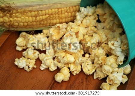 popcorn on the table wooden background