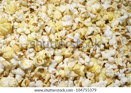 Popcorn photographed close-up