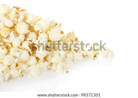 Popcorn pile isolated on white, clipping path included