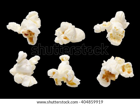 Popcorn set isolated on black - stock photo