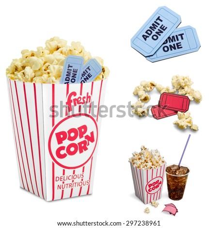 Popcorn, Soda, Movie. - stock photo