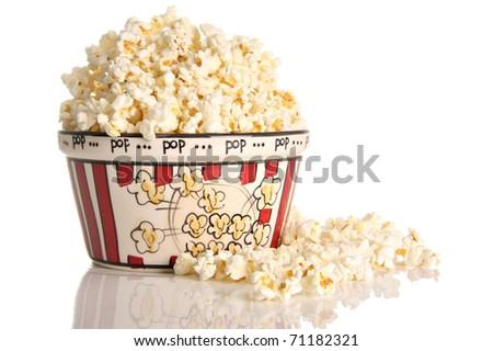 Popcorn, studio isolated on white. - stock photo