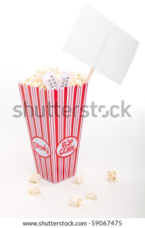 Popcorn with sign - stock photo