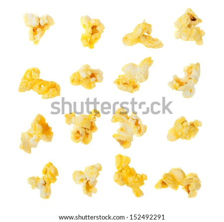 Popped kernels of pop corn snack isolated on white background. - stock photo