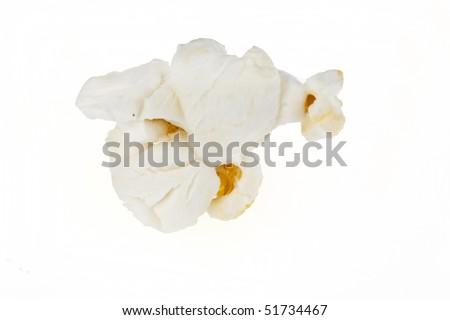 Popped popcorn kernel isolated on a white background. - stock photo