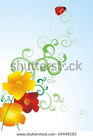 poppies and lady bug illustration - stock photo