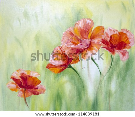 Poppies in the morning,  oil painting on canvas - stock photo