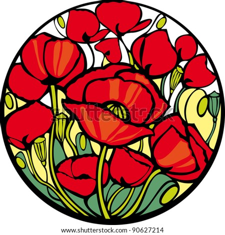 Poppies.  There are many red poppies in the circle. - stock photo
