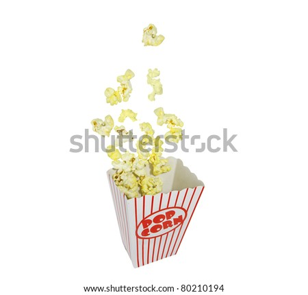 Popping Popcorn box isolated on white. - stock photo