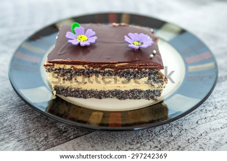 Poppy Cake Slice - stock photo