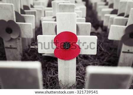 Poppy Cross, Remembrance day display in Westminster Abbey - stock photo