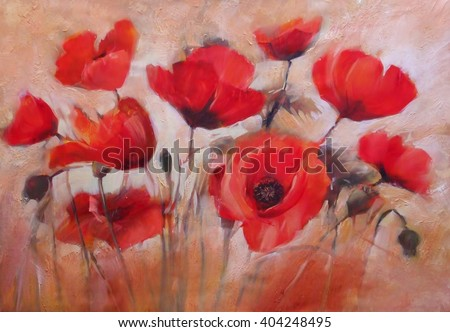 Oil painting flowers stock images royalty free images - How to paint poppy flowers ...
