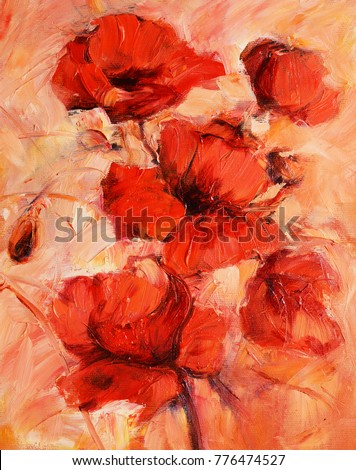 Poppy flowers handmade oil painting on stock illustration 776474527 poppy flowers handmade oil painting on canvas mightylinksfo Image collections