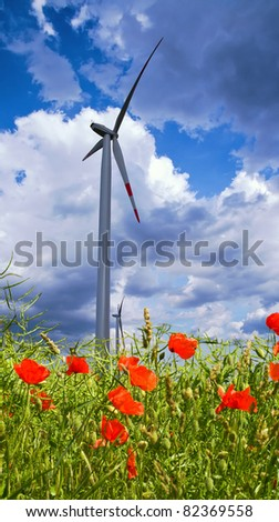 Poppy flowers with ripe rapeseed and windmill against dramatic sky - stock photo
