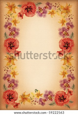poppy lily orchid flower frames or border