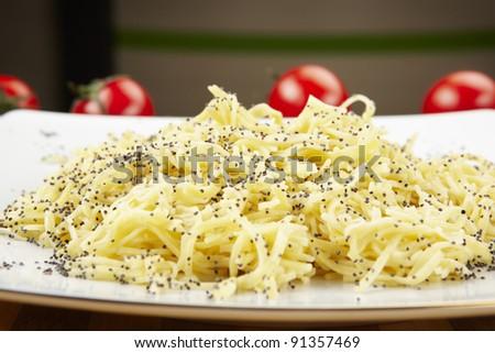 Poppy seed pasta - stock photo