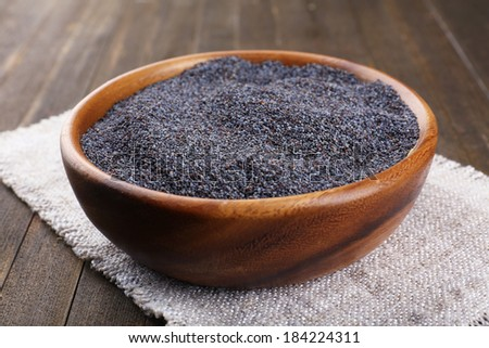 Poppy seeds in bowl on table close-up - stock photo