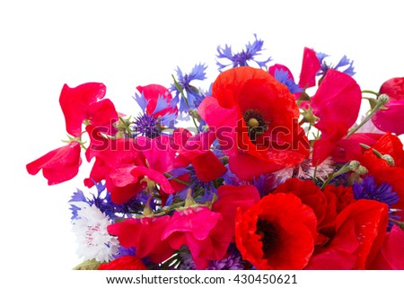 Poppy, sweet pea and corn flowers bouquet close up isolated on white background - stock photo