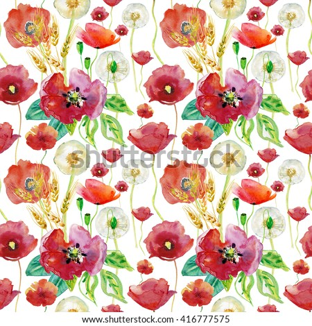 Poppy, wheat and Dandelion. Watercolor seamless background. Can be used for textile,fabric, wrapping paper,design a web site.