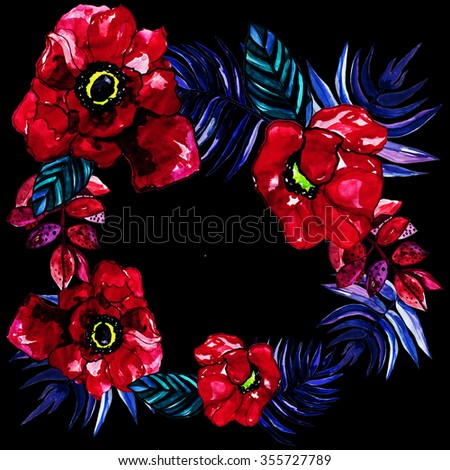 Poppy wreath  flowers design