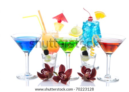 Popular alcohol cocktails composition. Different types of cocktail drinks Blue hawaiian, mai tai, tropical  Martini, tequila shot , margarita, orchid, cherry lime, lemon isolated on a white background - stock photo