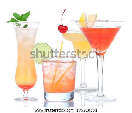 Popular alcoholic cocktails composition. Four cocktail drinks yellow margarita cherry and tropical Martini on a white background