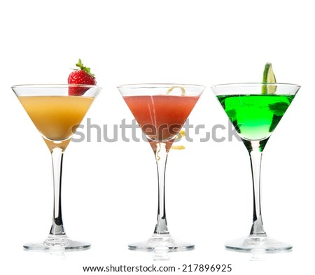 Popular alcoholic cocktails composition. Many cocktail drinks mai tai, tropical Martini, tequila sunrise, margarita lime, lemon  on a white background - stock photo