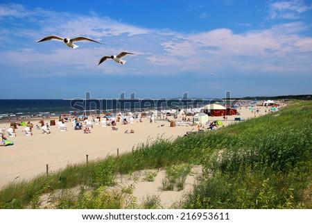 Popular Baltic sea beach on Usedom island in Swinoujscie, Poland - stock photo