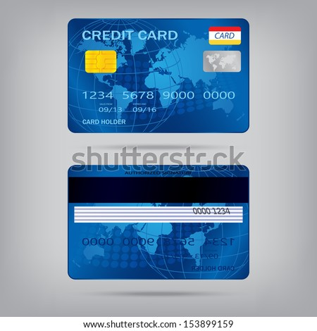 popular blue premium extended business credit card isolated