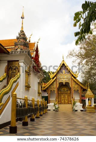 Popular Buddhist Temple of Wat Phrathat Doi Suthep in Chiang Mai, Thailand - stock photo
