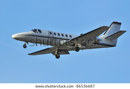 Popular business jet designed to be flown by a single pilot, but with twin turbofan motors - stock photo